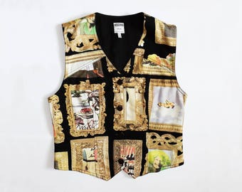 Vintage Moschino Vest 1992 Art golden Frame Vest Small