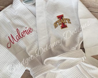 Waffle weave robe,  college, Bride, Bridesmaids, monogrammed, personalized robe