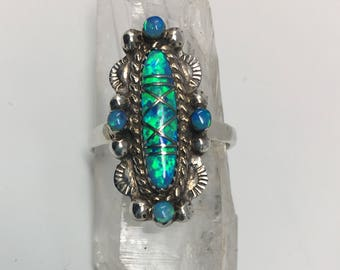 Signed Sterling Silver and Opal Inlay Ring
