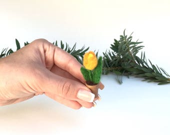 Decorative Felt Wool Plant, Organic Plant,Gift,Home Decor,Felted Flower,Orange Tulip,Wool Felt Flower,Mothers Day Gift,Wool Tulip,Mini Tulip