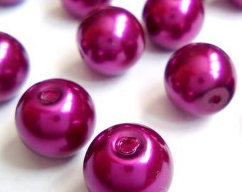 20 8mm purple glass pearl beads