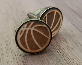 Basket Ball Cufflinks - Custom Wood Cuff Links - Laser Engraved Gift - Present - Valentines Day - Fathers Day - Sports Fan