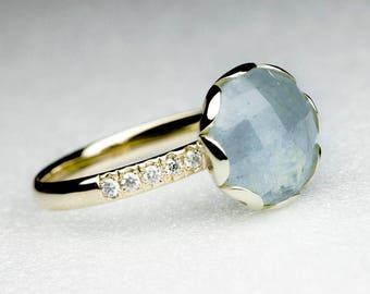 Aquamarine Flower Ring with Diamonds