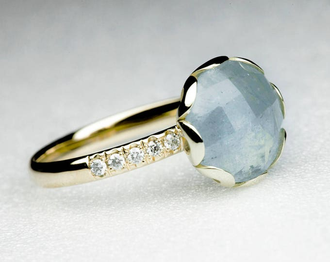 Aquamarine Flower Ring with Diamonds