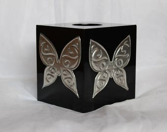 Embossed Pewter butterfly Tissue Box Cover, Wooden Tissue Box Cover, Unique gift for yourself or someone else