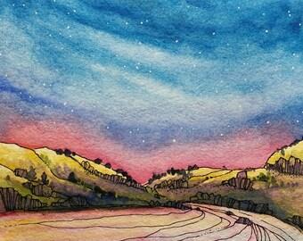SALE,Deschutes river,ORIGINAL watercolor,watercolor painting,river art,night sky,landscape painting,wild and scenic,art,ink,art,print