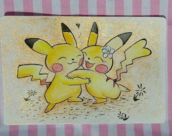 Pokemon - Pikachu in Love - Original Ink and Watercolor Art