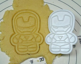 Cute Iron Man Cookie Cutter and Stamp