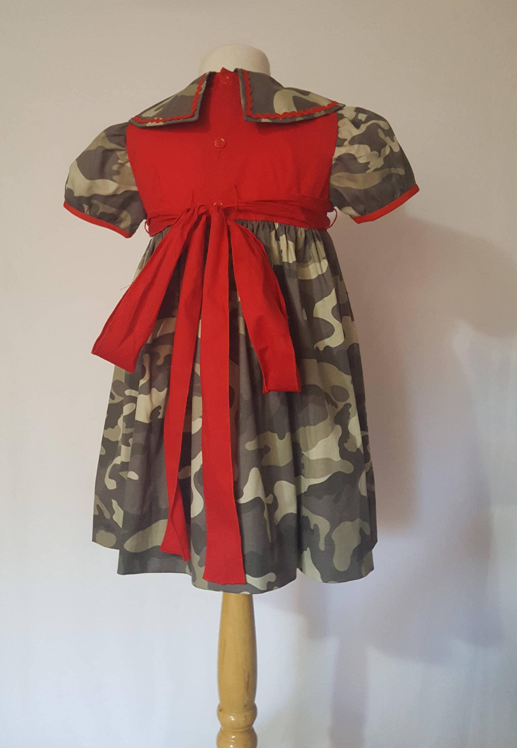 Handmade red and military girl dress Original baby girl dress Size