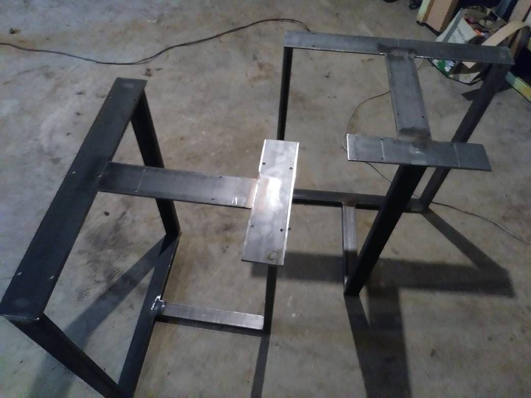 metal table legs steel table legst shaped table legsmodern industrial clear coated handmade in us