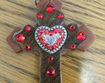 Leather Cross & Heart Charm with hair on hide and Swarvoski crystals