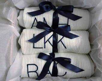 Personalized  Set of Ten  Bath Wraps, Spa Wrap, Towel Wrap, Waffle Towel Wrap, Monogram Towel  Wrap