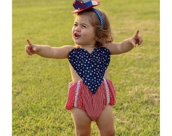 4th of July Baby Romper, 4th of July Outfit, Baby Romper, 4th of July Baby Girl, WILL NOT be received in time for fourth of July 2017
