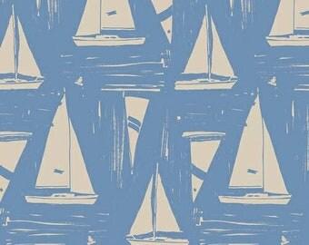 Art Gallery Fabric - Sailcloth Quietude - Coastline by Sharon Holland - Nautica Fabric - Sail Boat Fabric - Ocean Fabric - Summer Fabric