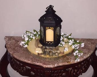 Natural Slab Charger With Natural Stones And Flower Light House