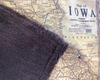 IOWA map blanket - IA map baby minky security blankie - small travel blanky, lovie, lovey, woobie - 12 by 16 inches