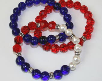 Red, White and Blue stack bracelets, patriotic jewelry, womens bracelet, teen jewelry, beaded bracelet, Americana, stars & stripes jewelry