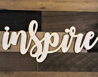Inspire Word Cutout, Inspire Wood cut out, 3d Inspire Wood Sign, Inspire script sgin, Cursive Word, word cut out, custom word cutout