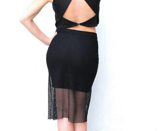 Black skirt, Bodycone skirt, Fishnet skirt,  Lace skirt, Transparent skirt, Dance wear, Argentine Tango skirt, Pencil skirt, Stretch skirt