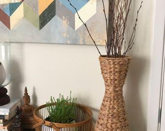Vintage straw vase