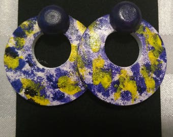 Purple color splat earrings