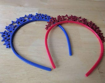 SALE!!! Kids glitter star crown headband blue or red party favor