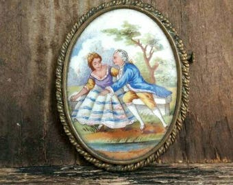 Vintage Romantic Porcelain Brooch Limoges