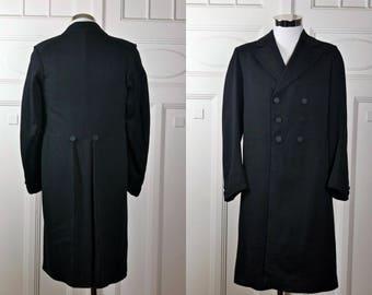 European Vintage Edwardian Frock Coat, Black Wool Double-Breasted Prince Albert Frock Coat, Teddy Boy Coat, Steampunk Coat: Size 36 US/UK