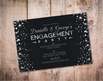 Sparkle Engagement Invite Design / Black and Silver Engagement Invitation - Design ID: 32-02A