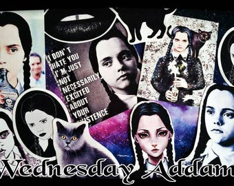 SALE 11xLARGE Wednesday addams sticker set-tumblr sticker-sticker-Planner sticker set-Goth Sticker-The Addams Family Wednesday-Horror Gift