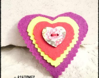 Women brooch heart yellow purple felt with wooden button