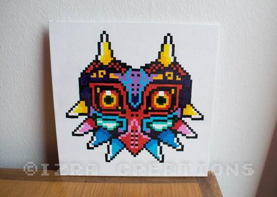 tableau peinture pixel art zelda majora 39 s mask. Black Bedroom Furniture Sets. Home Design Ideas