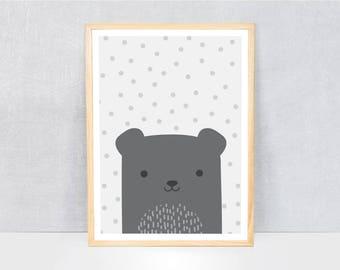 scandi bear print / kids art print / kids wall art / cute illustration / bright colours / kids poster print