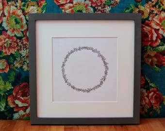 Hand drawn leaf wreath - Fully customisable