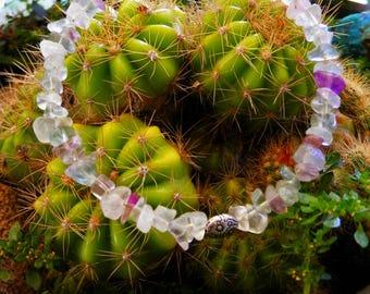Rainbow fluorite gemstone beaded bracelet, handmade natural gemstone