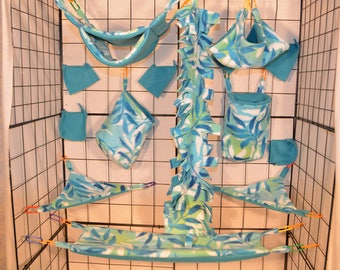 15 Piece Leaves Overlay/Teal, Sugar Glider Cage set, Rat Cage Set, Ready To Ship!!