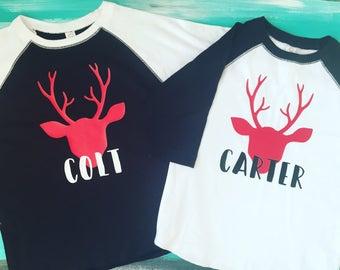 Kids Deer Shirt, Kids Reindeer Shirt, Kids Christmas Shirt, Christmas Shirt Deer, Toddler Christmas Shirt