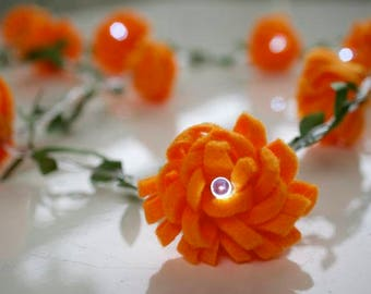 Flower Fairy Lights ;Orange flowers ; string lights;LED Battery operated