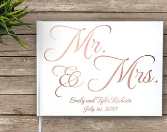 Rose Gold Foil Wedding Guest Book, Mr. and Mrs., Custom Guest Book, Personalized Guest Book, Rose Foil, Wedding Journal, Real Foil