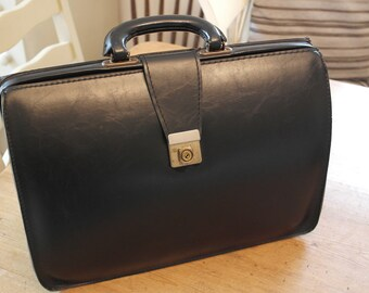Vintage Retro Black Leather Attache Briefcase