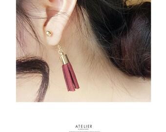 Red / Black Long Chain Felt Tassel Stud Dangle Earrings Korean Fashion Jewelry