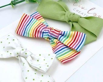 Baby Girl classic Bow Headband set - Hair clips- Nylon Headbands - Infant / Toddler /  Fabric Hair Bows - st. Patricks day set