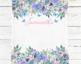 Name Baby Blanket / Spring Baby Shower / Baby Shower Gift Girl / Butterfly Baby Blanket / Custom Baby Blanket / Girl Baby Blanket With Name