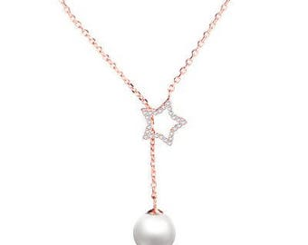 Pearl and Star Rose gold necklace