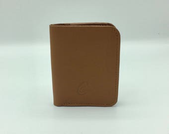 Soft caramel brown leather card holder