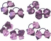 Purple and lilac grosgrain ribbon hair bows on thick bobbles, purple and lilac hair accessories, thick hair ties, girls hair fashion bows