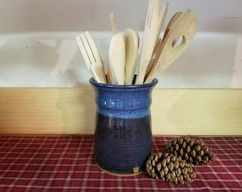Floating blue pottery utensil holder, pottery utensil holder,  utensil holder,  ceramic utensil holder,  pottery vase