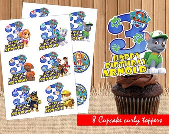 DIGITAL Paw Patrol personalized Toppers| Paw Patrol Birthday Party| Paw Patrol Toppers|Paw Patrol Birthday Party Printable| INSTANT DOWNLOAD