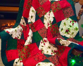 Handmade Quilt, Christmas, holiday, table decoration, throw.