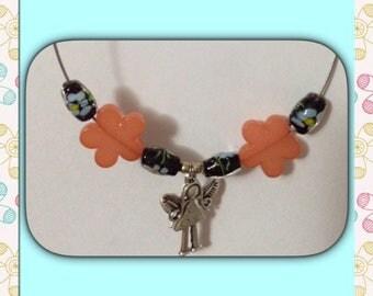 Orange Colleir Tinker Bell flower beads